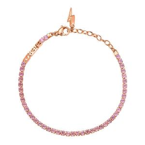 Bracciale DESIDERI della Broswayin acciaio, pvd oro rosa, scritta energy, saetta e zirconi rhodoliete