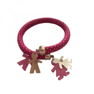 Bracciale Flex design schiava a pois fuxia in pelle con coppia Birikini