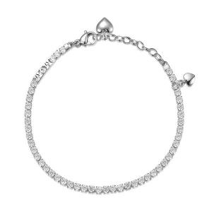 Bracciale DESIDERI della Broswayin acciaio, scritta mom, cuori, zirconi white e cristallo crystal