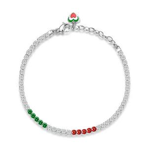 Bracciale DESIDERI della Broswayin acciaio ITALY, zirconi white, nano emerald, d-garnet e smalti verde, bianco e rosso