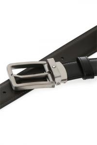 Cintura reversibile Montblanc con fibbia rettangolare in titanio opaco
