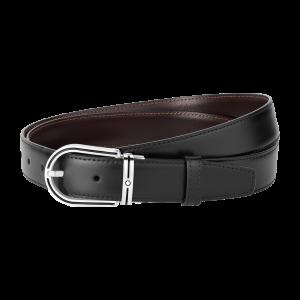 Cintura reversibile Montblanc con fibbia in acciaio inossidabile e smalto nero