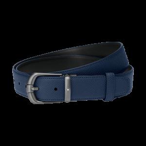 Cintura reversibile Montblanc con fibbia ad ardiglione finitura rutenio scuro spazzolato