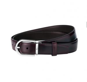 Cintura Montblanc con fibbia ad ardiglione a ferro di cavallo rivestita in palladio lucido