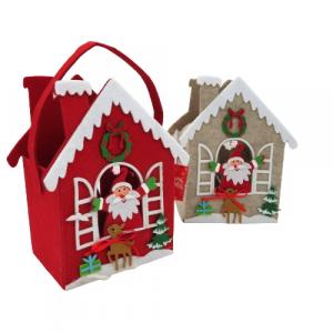 Cestino casetta Babbo Natale pannolenci