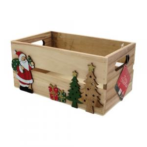 Cassetta legno naturale decoro Natale 30x18cm
