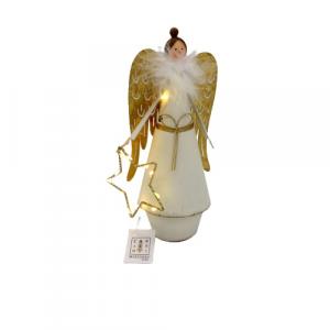 Angelo led illuminato con stella decorazione di Natale