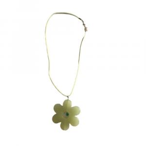 Girocollo collana alcantara con fiore verde in resina