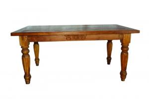 Tavolo d'epoca in legno massiccio di teak indiano