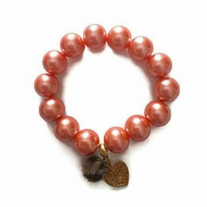 Bracciale rosa arancio con charms made in Italy perle cerate