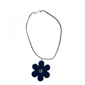 Girocollo collana alcantara con fiore blu