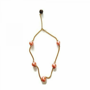 Girocollo collana rosa arancio perle cerate