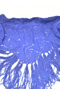 Shawl Blue In Wool Hand Made With Fringes