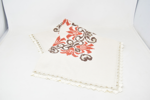 Centrino Tovaglietta Embroidered By Hand Brown Point Cross 35x35 Cm