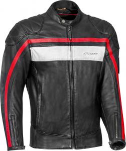 Giacca moto pelle Ixon PIONEER nero bianco rosso