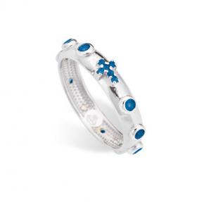 Anello Rosario Bianco Zirconi blu