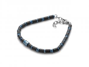 Cesare Paciotti 4US, Bracciale in acciaio blue e gomma nera