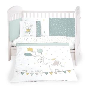 Kikka Boo - set di biancheria da letto per bambini realizzato in cotone ranforce di prima qualità al 100%; 6 Pz misura 60/120 - Elephant time