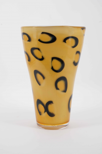 MOUTH-BLOWN LEOPARD-PRINT VASE USING WHITE INSIDE AND AMBER WITH BLACK MURRINE OUTSIDE - PROTOTYPE 1/1 H. 35 CM