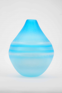 AQUAMARINE MOUTH-BLOWN VASE WITH BATTUTO SURFACE AND MATTE FINISH H. 29 CM