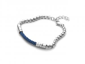 Cesare Paciotti 4US,  Bracciale in acciaio con spirale centrale blue