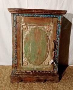 Comodino 1 anta finestra verde in legno di teak recuperato
