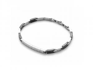 Cesare Paciotti 4US, Bracciale in acciaio con elementi testurizzati steel e neri
