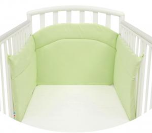 Morbido Paracolpi Lettino Neonato e Bambino Lavabile Protezione Avvolgente Imbottitura Spessore 4 Cm Tessuto Cotone Certificato - Made In Italy - Colore Verde
