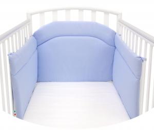 Morbido Paracolpi Lettino Neonato e Bambino Lavabile Protezione Avvolgente Imbottitura Spessore 4 Cm Tessuto Cotone Certificato - Made In Italy - Colore Azzurro