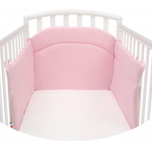 Morbido Paracolpi Lettino Neonato e Bambino Lavabile Protezione Avvolgente Imbottitura Spessore 4 Cm Tessuto Cotone Certificato - Made In Italy - Colore Rosa
