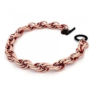 Collana donna di catena corda, morbida, finitura sabbiata