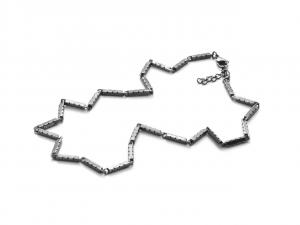 Cesare Paciotti 4US, Collana in acciaio nera con elementi rettangolari testurizzati