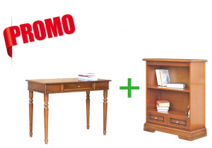[HOMEOFFICE] - Desk + low bookcase with 1 drawer