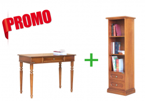 [HOMEOFFICE] - Desk + Space saving bookcase 2 drawers