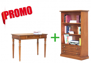 [HOMEOFFICE] - Desk + Open shelving bookcase 2 drawers
