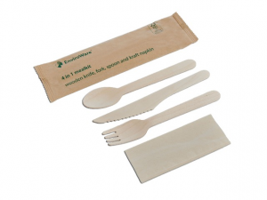 Tris di posate legno imbustato carta (Forchetta+Coltello+Cucchiaio+Tov.)