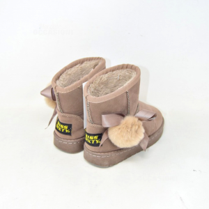 Ankle Boots Baby Girl Miss Youxty Brown With Pon-pon In Hair True N° 27