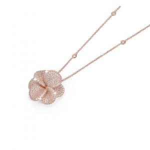 BROCCHI, collana con fiore argento rosè e zirconi