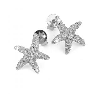 BROCCHI, orecchini stella marina argento e zirconi