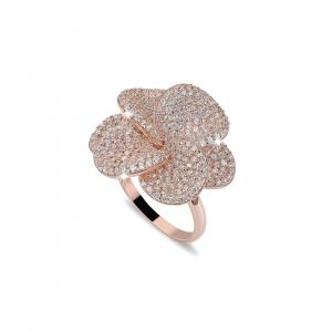 BROCCHI, anello a fiore argento rosè e zirconi a pavè