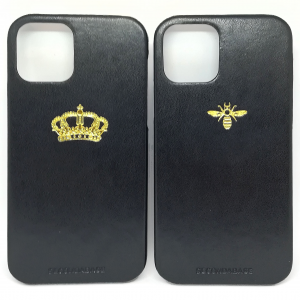 Cover in ecopelle nera marchiata oro a caldo per iPhone 12, 12 Pro, 12 Mini, 12 Pro Max