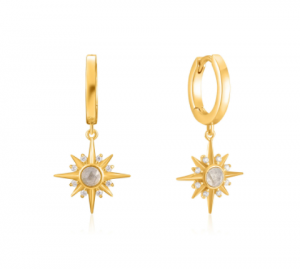 Gold Midnight Star Huggie Hoop Earrings