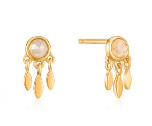 Gold Midnight Fringe Stud Earrings