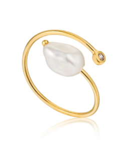 Gold Pearl Twist Adjustable Ring