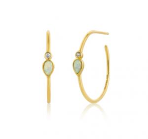 Opal Colour Raindrop Gold Hoop Earrings