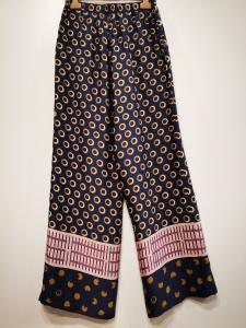 MANILA GRACE P148VP Pantalone palazzo in viscosa ed elastico in vita