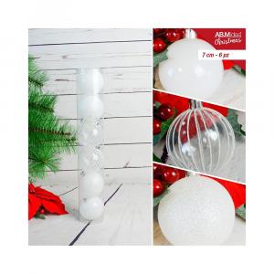 Tubo con n. 6 palline in plastica cm7 decorazioni assortite bianco