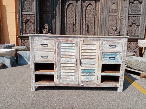 Buffet recycle teak wood white wash