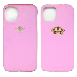 Cover in ecopelle rosa marchiata oro a caldo per iPhone 12, 12 Pro, 12 Mini, 12 Pro Max