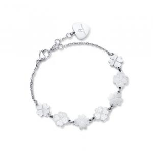 Bracciale donna Luca Barra con quadrifogli e glitter bianco